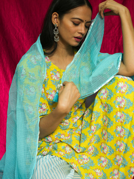 Cotton Kurta 2544 boota with Palazzo Dupatta Set Yellow