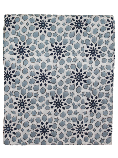 Pure Cotton White Color Hand Block Printed Fabric.