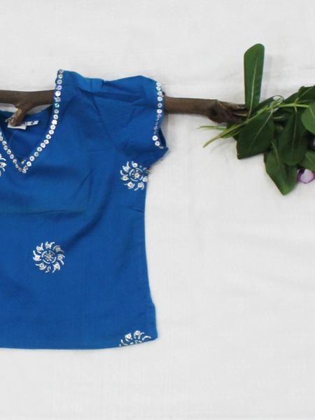 Blue Floral Silver Print Cotton Girls Kurti
