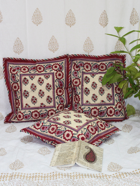 Beige & Maroon Handblock Printed Cotton Cushion Cover