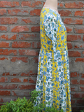 Yellow and White Color Cotton Floral Jaal Anarkali