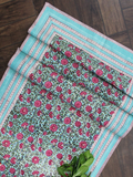 Sea Green Floral Jaal Canvas Table Runner