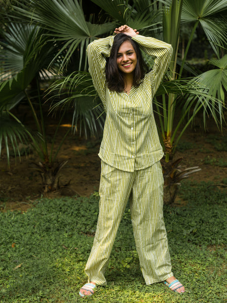 Cotton Night Suit Green Stripes