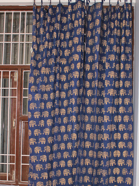 Curtain Gold Elephant Navy Blue