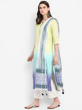 Women Cotton Silk Tie Dye Kurta Palazzo & Dupatta Green