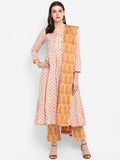 Cotton Anarkali Palazzo & Dupatta Set Yellow