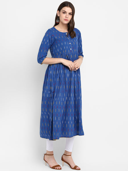 Women Blue Ikat Dress