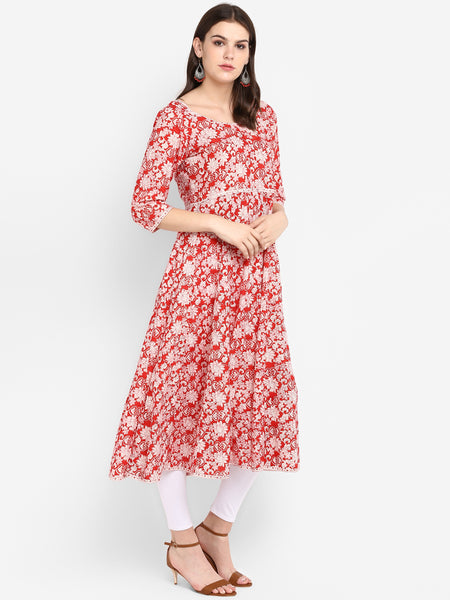 Women Anarkali Red