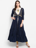 Women Tier Dress Gota Navy Blue