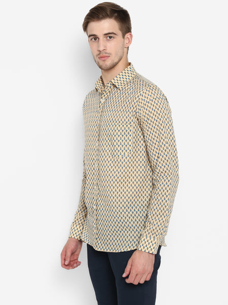 Men Shirt Meva Booti Beige