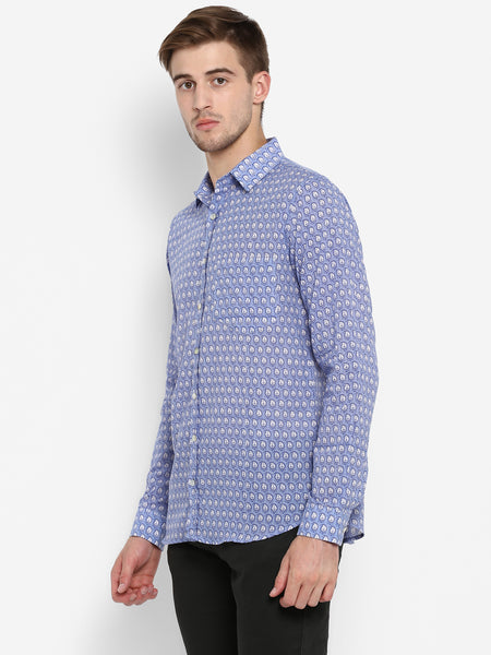 Men Shirt Blue Paisley