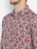 Men Shirt Aqua Red Jaal