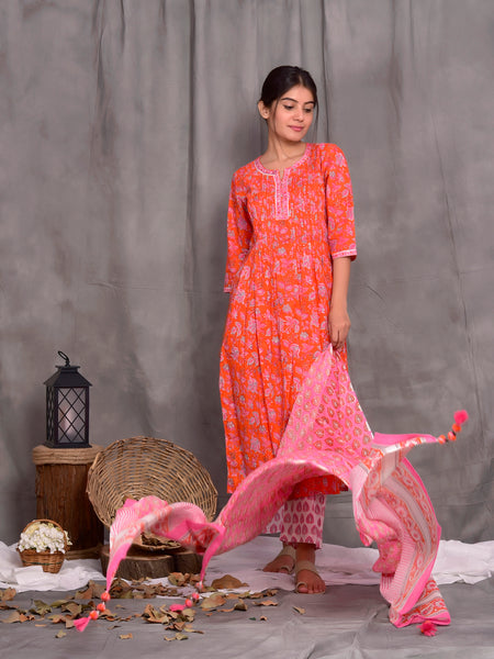 Cotton Shell Tuck Orange Jaal Kurta Dupatta Pants Set