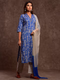 Cotton V Neck Reinder Print Kurta Suit Set Blue