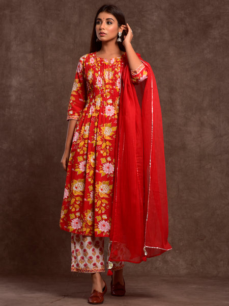 Cotton Shell Tuck Big Flower Jaal Kurta Dupatta Pants Set Red