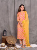 Cotton Yellow Booti 2496 Kurta Palazzo Dupatta Set