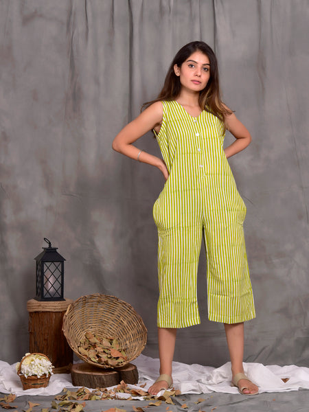 Stripes Dungarees and Jacket set Green