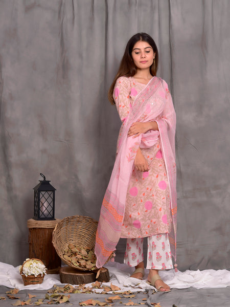 Cotton Powder Pink Big Flower Jaal Kurta Palazzo Dupatta Set