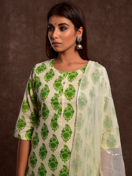 Cotton Mahin Boota Kurta Set Green