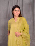 Cotton Mehandi Green Gold Boota Kurta Palazzo Dupatta Set