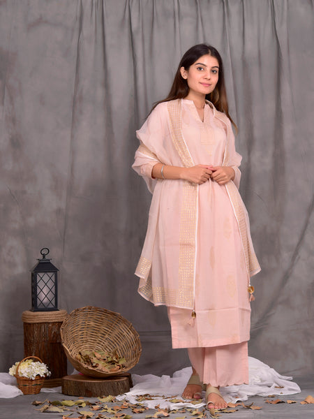 Cotton Camio Rose Gold Boota Kurta Palazzo Dupatta Set
