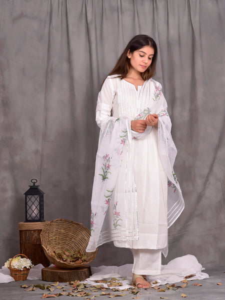 Cotton Shell Tuck White Khari Print Kurta Dupatta Pants Set