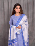 Cotton Blue Stripes Lucknawi Kurta Palazzo Dupatta Set
