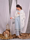 Cotton Natural Blue Booti Kurta Palazzo Dupatta Set