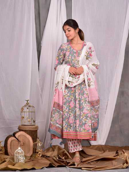 Cotton Grey Jaal Anarkali Palazzo Dupatta Set