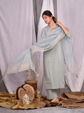 Cotton Aqua Grey Gold Boota Kurta Palazzo Dupatta Set