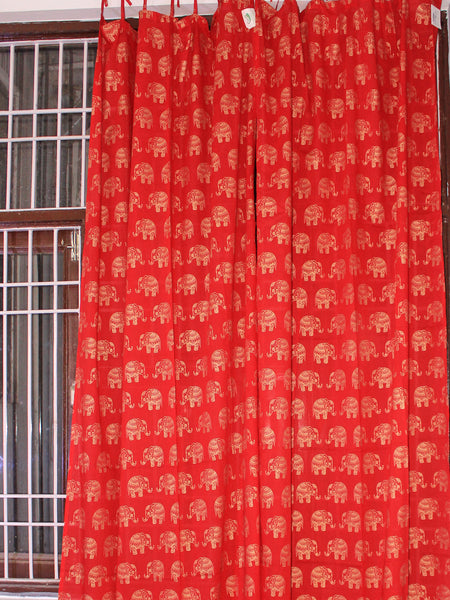 Curtain Gold Elephant Red