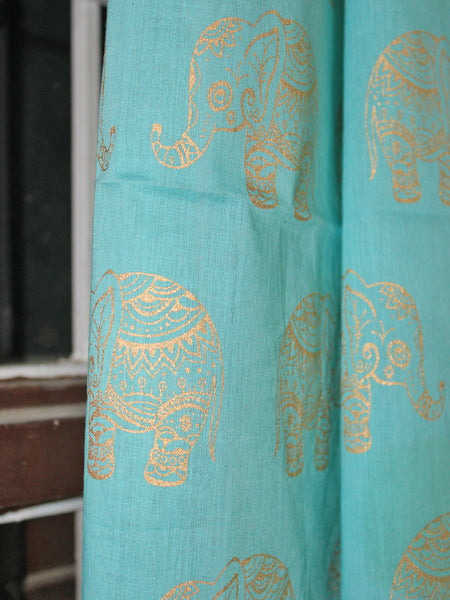 Curtain Gold Elephant Sea Green