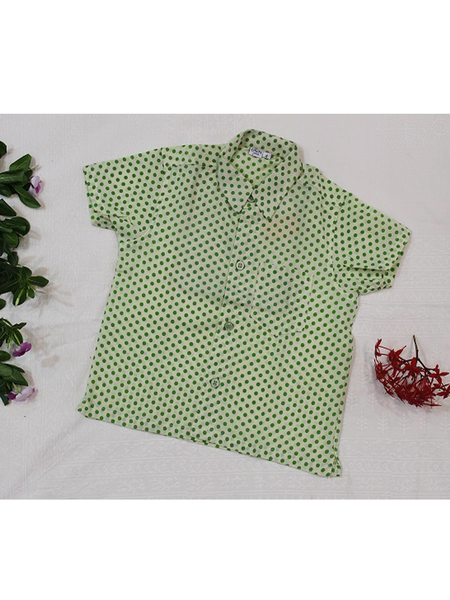Green Polka Dots Short Sleeves Shirt