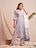 Cotton Abstract Floral Kurta Palazzo Dupatta Set Blue