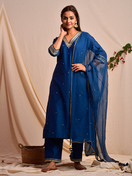 Chanderi Silk V Neck Gota Patti Suit Set Navy Blue
