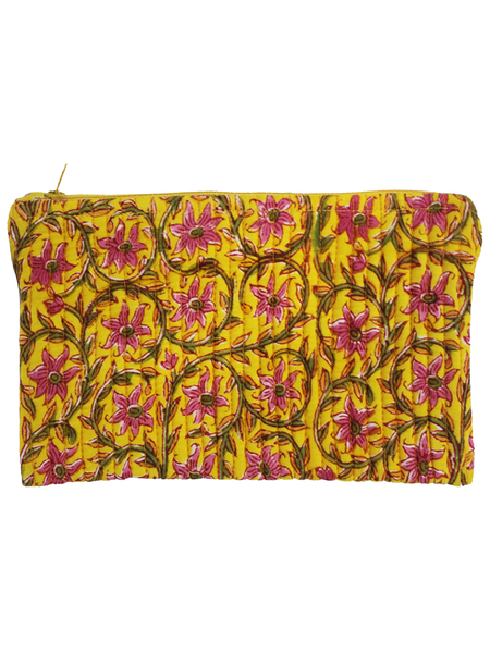 Yellow Hand Block Printed Cotton Pouch