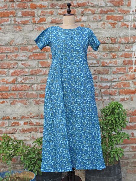 Women Night Gown Blue Lotus Jaal