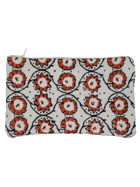 White Hand Block Printed Cotton Pouch