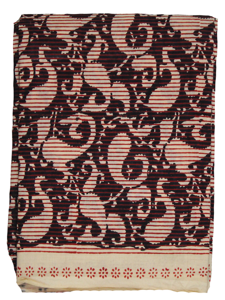 Abstract Paisley Hand Block Printed Fabric.