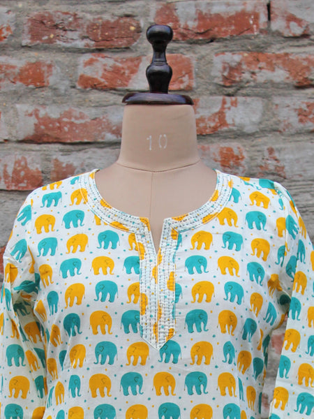 Cotton Women Kurta Elephant Print
