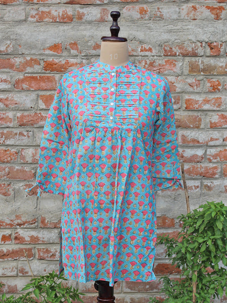 Cotton Women Tunic Firozi Gud Booti
