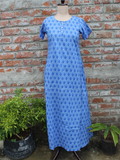 Women Night Gown Blue Floral Jaal