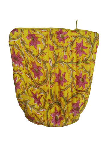 Yellow Hand Block Printed Cotton Coin Pouch