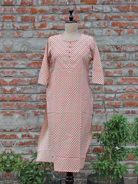 Cotton Women Kurta Meva Booti Pink