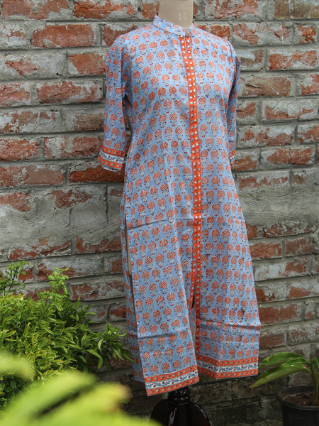 Pure Cotton Women Kurta Aqua Blue