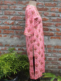 Pure Cotton Women Kurta Pink Floral Butta