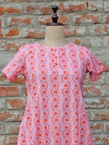 Women Night Gown Pink Peach Floral Jaal