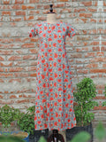 Women Night Gown Red Floral