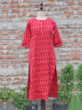 Women Kurta Ikat Red