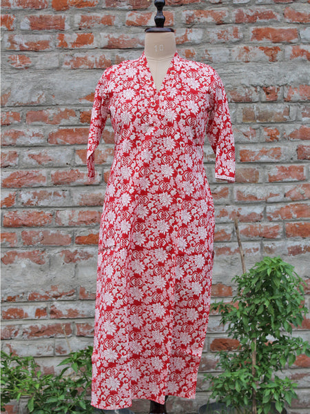 Cotton Women Kurta Red Gud Jaal